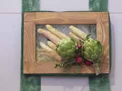 collage con alcachofas y esparragos