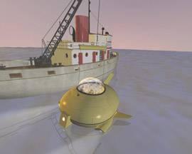 Una escena del documental Astronauta de ocho pies: barco y sumergible