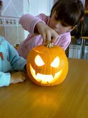 calabaza halloween y niños