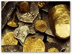 tesoro de escudos y doblones de oro