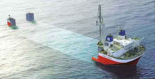 ficción de un barco semi-sumergible de la empresa Dockwise