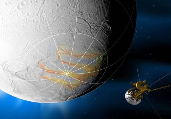 Cassini orbita enceladus (recreación artística)