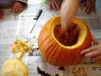 calabaza para Halloween, vaciar