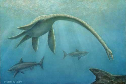 El Kutabasaurus suzukii, acosado por los tiburones