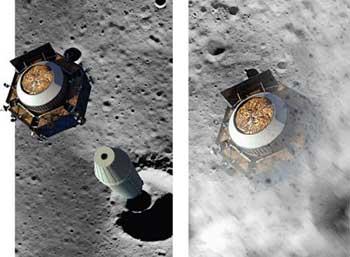 LCROSS simulación del impacto sobre la luna