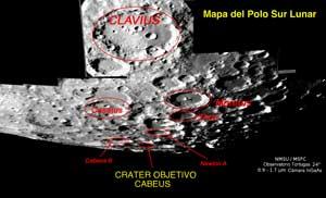 mapa del polo sur de la Luna