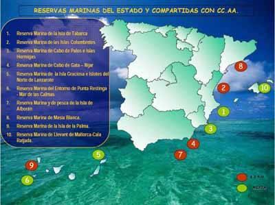 Mapa de las Reservas Marinas de España