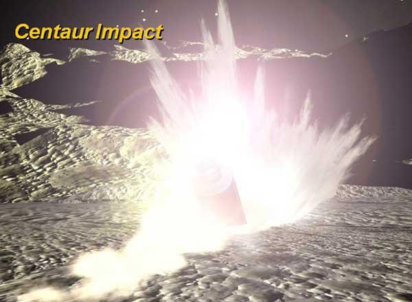 simulación impacto  cohete centaur