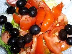 Tomates, aceitunas, aceite de oliva