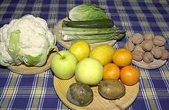Verduras, frutos crudos y secos
