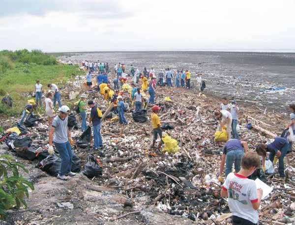 Limpiando una playa de basura