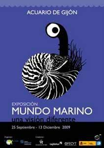 cartel exposición mundo marino una visión diferente, Gijón