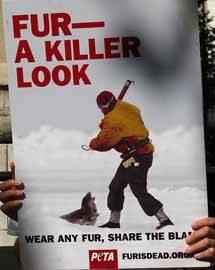 pancarta contra la matanza de focas en Canadá