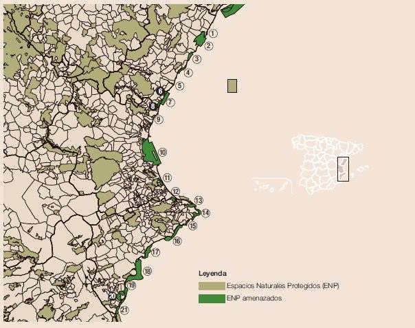 espacios naturales amenazados Comunidad Valenciana