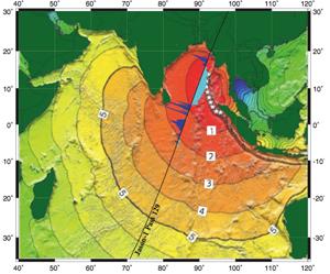 imagen de detección por satélite de la sombra de un tsunami