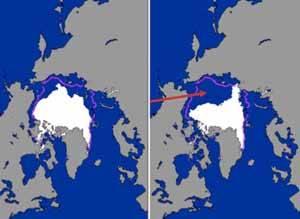 mapa comparaativo del deshielo ártico, click para ampliar