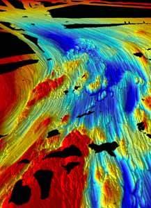 mapa de sonar de la Antártida