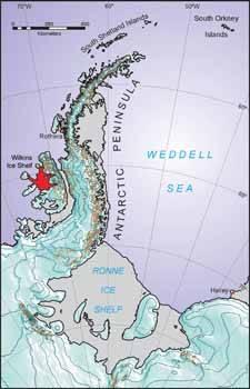 mapa península Antártica, wilkins