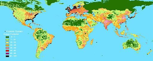 Mapa zonas muertas en los mares