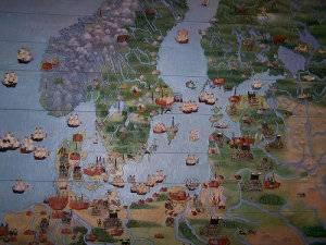 ídilico mapa del Mar Báltico del año 1600