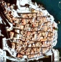 Casco Antiguo de Peñíscola a 372m de altura, Google Earth