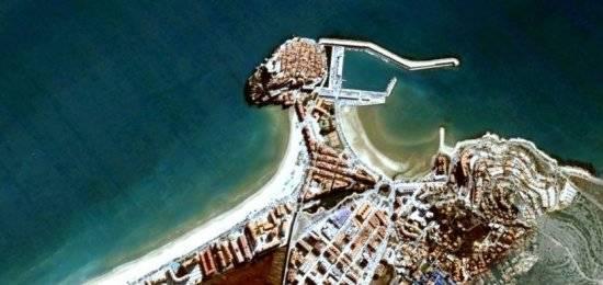 foto de Peñíscola por sátelite con Google Earth