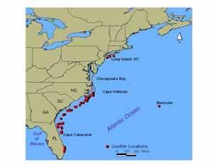 pez león, distribución en el Atlántico (NOAA)