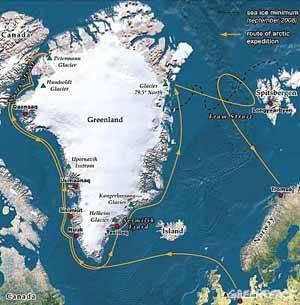 recorrido del Artic Sunrise, Groenlandia 2009