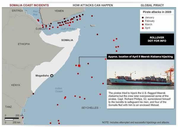 Somalia, mapa zona ataques piratas