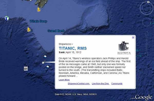 nufragio del Titanic en google ocean