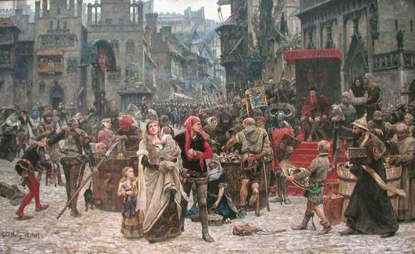 burgueses de Visby cargan en barriles de cerveza el tesoro