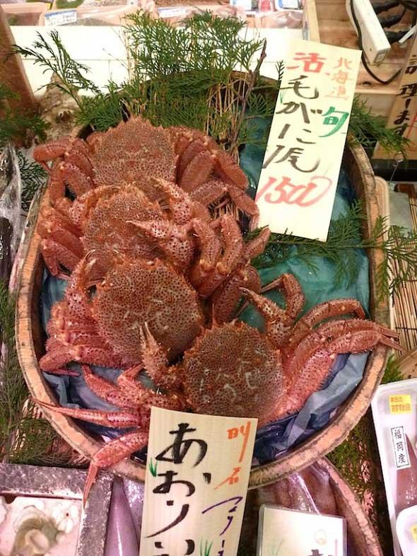 cangrejos rojos en un mercado de Kobe, Japón