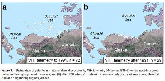 distribución de los osos polares en Alaska