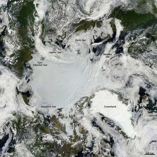 imagen en alta resolución del Ártico desde satélite