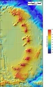 mapa de nuevos volcane submarinos descubiert