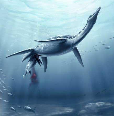 Polycotylus latippinus, plesiosaurio dando a luz - recreación artística