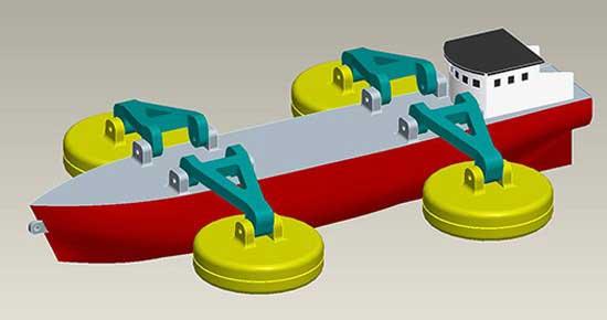 sistema Fraunhofer en barcos para extraer energía de las olas con boyas