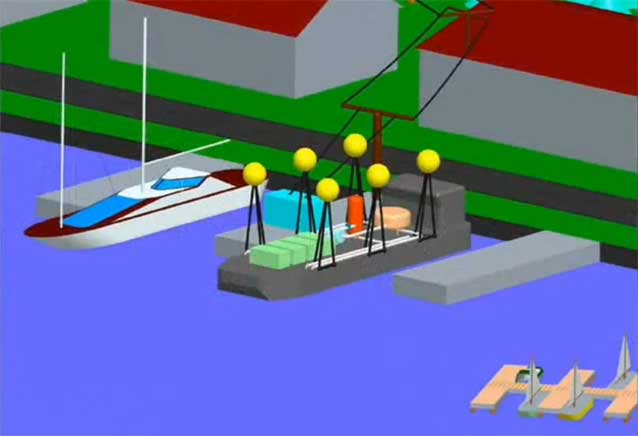 sistema Fraunhofer en barcos para extraer energía anclado en puerto