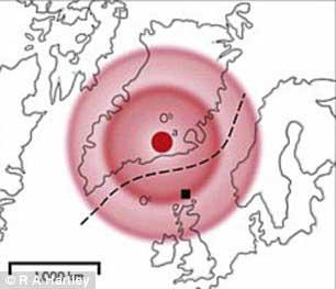 situación del paisaje sumergido al oeste del Atlántico