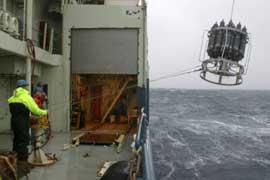 científicos recogen muestras con instrumentos de medición