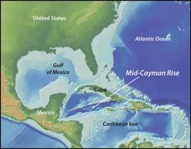 cordillera submarina de las Islas Caimán, mapa