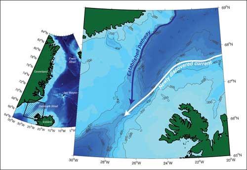 Estrecho de Dinamarca, nueva corriente oceánica