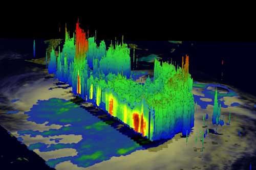 huracán Irene, satélite TRMM, barras de lluvia