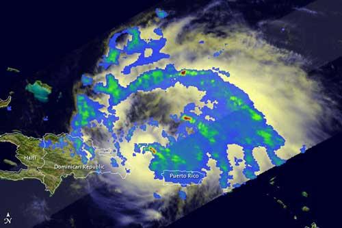 Huracán Irene, satélite de la Tropical Rainfall Measuring Mission (TRMM)