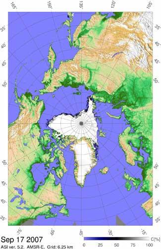 mapa extensión del hielo marino Ártico, septiembre 2007