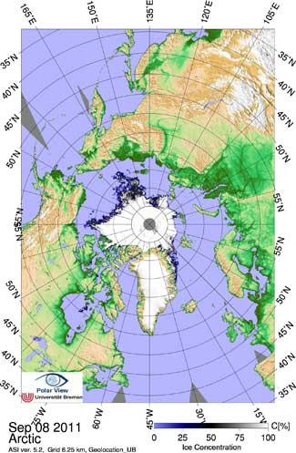 mapa extensión del hielo marino Ártico, septiembre 2011