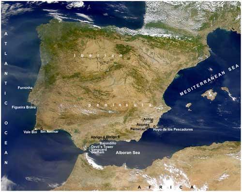mapa de hallazgos de moluscos marinos en la Península Ibérica