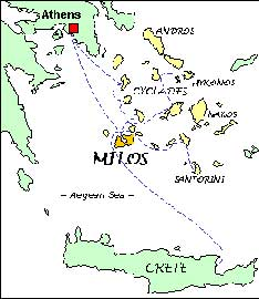 mapa de las islas Cíclades