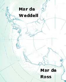 mapa situación del Mar de Ross y Weddell en la Antártida