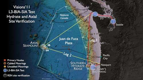 nodos del OOI desplegados cerca del volcán submarino Axial